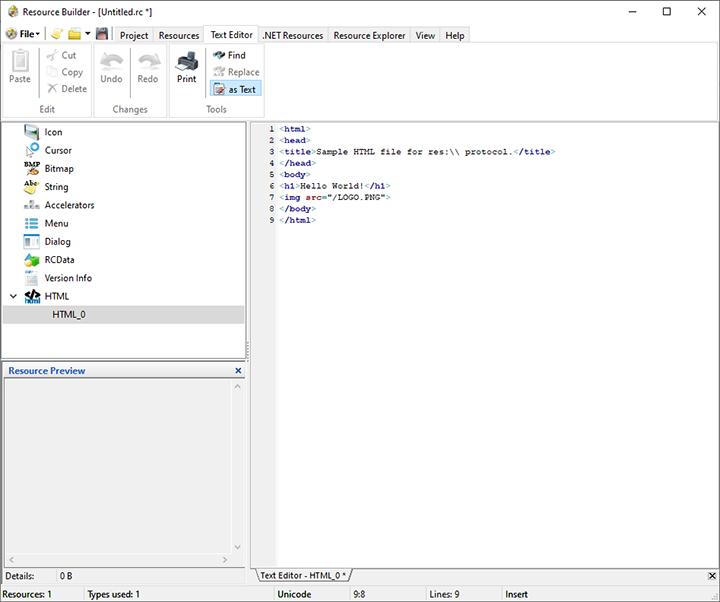 Beispiel für eine HTML-Ressource